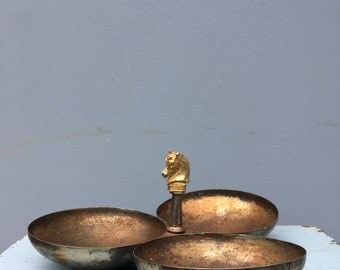 Vintage metal three section serving dish