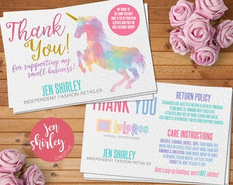 Thank You Card, Unicorn, Customized, Digital Download, HO Approved Colors, Marketing, Thank You, Business Item, Direct Sales, Printable, LLR
