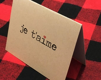 Je t'aime card / French Valentine card / I love you Valentine / I love you card / French romantic card / Cute love card / Notecard / Dating