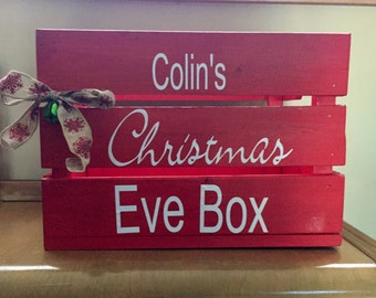 Solid Wood, handcrafted Christmas Eve Box, holiday crate, family tradition