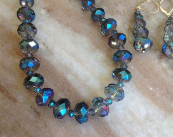 Crystal necklace and earrings in shades of blue