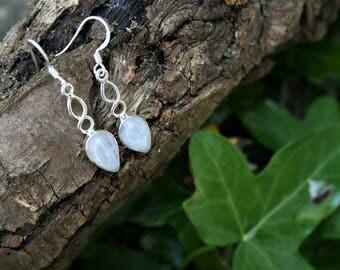 Twisted Moonstone Droplet Earrings