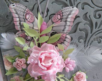 Romantic card with beautiful butterfly