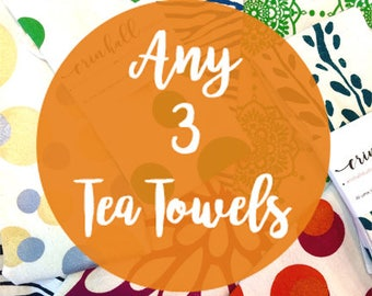 3-Pack, Make Your Own 3-pack of Tea Towels, Silkscreened, Tea Towel, Hand-Made