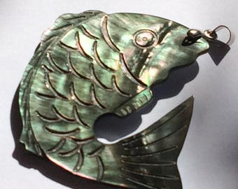 Mother of Pearl carved fish pendant