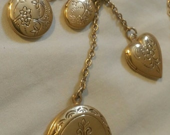 1960 Vintage Gold Plated Four Picture Dangle Lockets