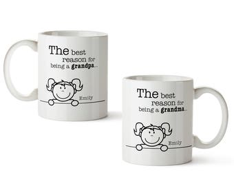 Set of 2 Mugs with Print - Reasons For Being A Grandma / Grandpa - Tea / Coffee Cup Personalised with [NAMES]