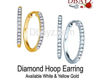 1/4Ctw Diamonds Hoop Earrings Free Shipping By Dbayzcom
