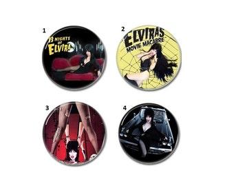 Elvira Mistress of the dark badges, buttons set of 4 (Cassandra Peterson, horror, cult)