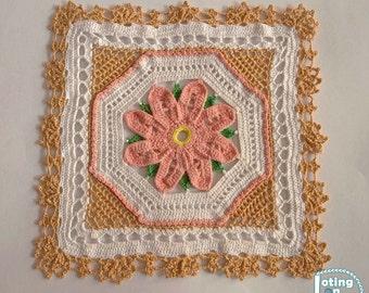 "Square Floral Doily - 7.2"" x 7.2"" | Crochet Doily | Handmade Doily | Tablecloth | Centerpiece"