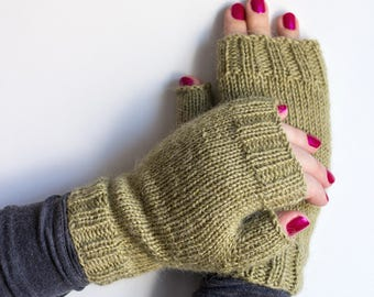 100% Wool & Alpaca Hand Knitted Fingerless Gloves, Handwarmer Mitts, Green Mittens, Knitted Wrist Warmers, Green Arm Warmers, Gift Idea