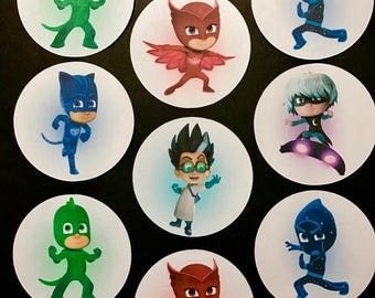 Precut Edible PJ Masks Character images to decorate your cupcakes, cookies or cake with.