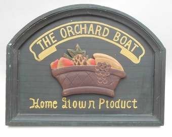 Vintage Wooden Sign - The Orchard Boat - French/English