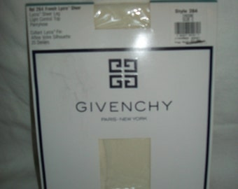 Vintage 1990 Givenchy Ivory French Lycra Sheer Pantyhose Size C, New