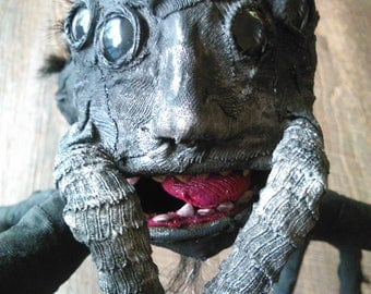 OOAK Spider, black and hairy, humanoid papermache sculpture