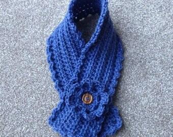 CROCHET PATTERN short scarf neck warmer scarflette with flower