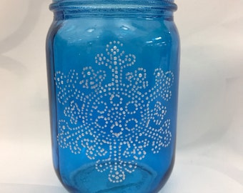 "7"" Winter Dotted Snowflake Handpainted Mason Jar Lantern"