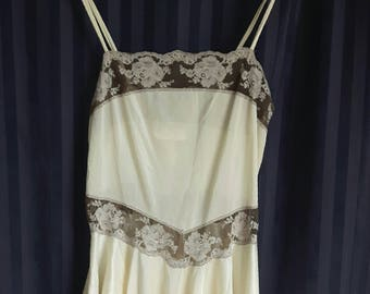 Ivory and gray vintage camisole lingerie, small, flowy bottom