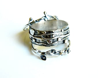3 Sterling Silver rings -  Sacred nature