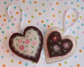 Set Of Two Hanging Heart Ornaments With Embroidered Flowers