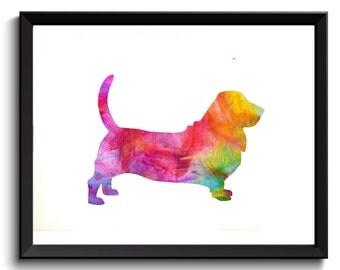 Basset Hound Art Print - Printable Basset Hound Art, Dog Artwork, Digital Basset Hound Print, Watercolor Basset Hound, Digital download