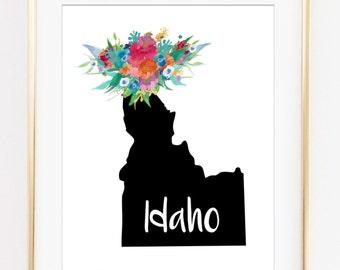 Idaho state art, Idaho printable, ID state art, Idaho printable, idaho artwork, idaho art print, idaho artwork, printable id art, download