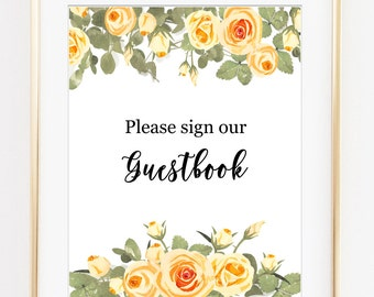 Sign our Guestbook print, Guestbook sign, Wedding guestbook sign, wedding decor, cream wedding, amber wedding art, printable wedding