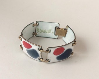 Vintage Mid Century Kay Denning Patriotic Red White and Blue Bracelet