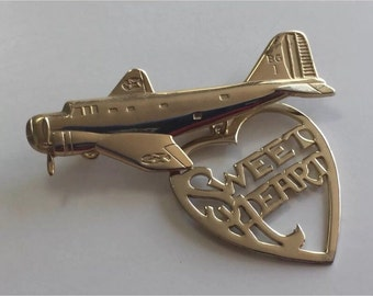 Genuine Vintage Sweetheart Pin, US Air Force Brooch, Patriotic Vintage Jewelry, Military   Brooch, Enamel 1940's, WWII Bombardment Group
