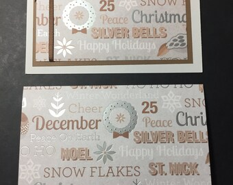 Christmas Card Set - Eight (8) Cards, Silver/Brown Handmade Christmas Cards, Fancy Christmas Cards