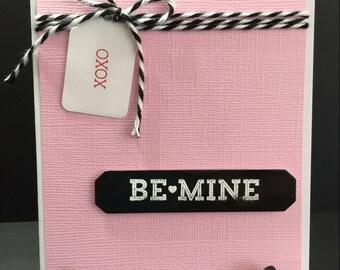 Valentine Card, Handmade Valentine Card, Fancy Valentine Card, Pink and Black, Be Mine Valentine Card, XOXO