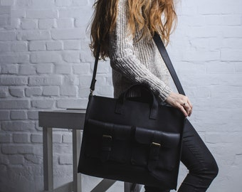 MESSENGER BAG, large leather bag,black leather bag, large leather brief-case, leather office bag, ladies messenger bag