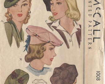"""1942 Vintage Sewing Pattern HAT S22"""" (R131)  McCall 1008"""