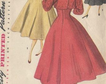 "1954 Vintage Sewing Pattern B32"" DRESS & JACKET (R236) Simplicity 4759"