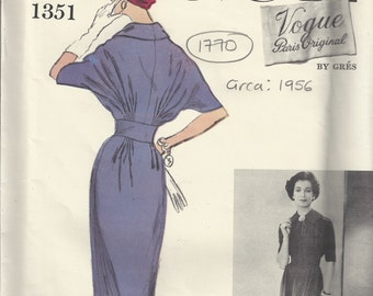1956 Vintage VOGUE Sewing Pattern B34 ONE-PIECE Dress (1770) By 'Gres'