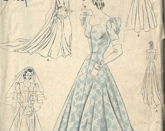 1940 WW2 Vintage VOGUE Sewing Pattern B32 WEDDING BRIDAL Gown & Dress (1826) By Vogue S-4205