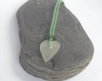 Sea glass necklace  heart necklace