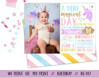 Unicorn Birthday Invitation, Rainbow Invitation, Unicorn Invitation, Magical Birthday Invitation, Rainbow Birthday Invitation, Unicorn Party