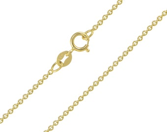 "14K Solid Yellow Gold Rolo Necklace Chain 1.3mm 16-24"" - Round Cable Link"