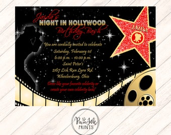 Red Carpet Invitation, Hollywood Party Invite, Red Carpet Party Invitation, Hollywood Printable, Red Carpet Birthday Party, Red & Gold Star