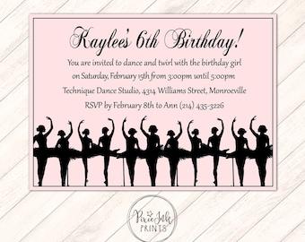 Ballerina Birthday Invitation, Ballerina Dance Birthday Invitation, Dance Party Printable, Ballet Birthday Party Invitation, Dance Invite