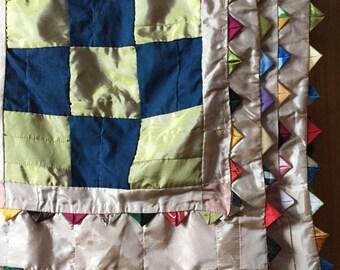 Incredible taffeta, silk and satin vintage quilt