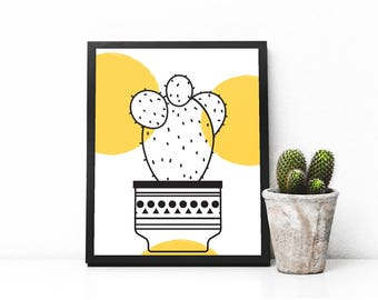 Cactus print, Cactus printable art, Nature Wall art, Minimalist print, Modern Home Decor, Plant print, printable art, digital print, ink art