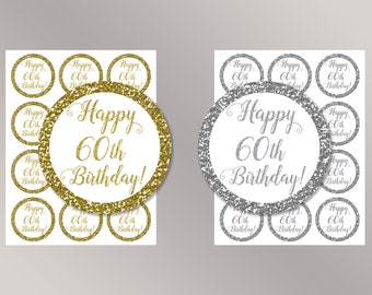 Happy 60th Birthday Cupcake Toppers, Happy Birthday favor tags, 60th Birthday Party Decor, Birthday Decorations, Gold, Silver Cake toppers