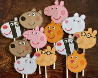 PEPPA PIG Cupcake Toppers / Cake Toppers / Die Cuts / Birthday Party / Decorations / Cake Pops / Supplies / Decor / Fast Shipping