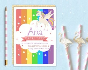 Invitation personalized for a party. Unicorn, Rainbow. Printable electronic download. For girls, babies.