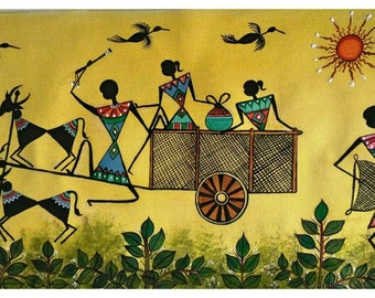 Beau-ti-ful Warli - Original Warli Art painting (Series 3 #4) by our shop's own Artisan, 'Harvesting' Acrylic on Canvas - ideal Christmas