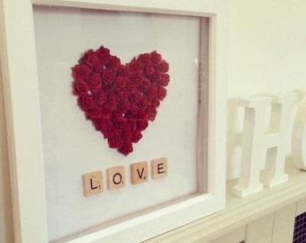 Bed of roses heart frame