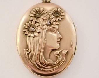 Art Nouveau Gold Fill Large Oval Locket Lady with Flowers- REDUCED