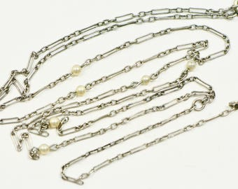 Art Deco Sterling Lorgnette Drop Chain Necklace with Faux Pearls